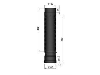 Uitschuifbare Kachelpijp TT 590-910mm Ø 100 mm 2mm staal zwart