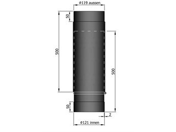 Uitschuifbare Kachelpijp TT 590-910mm Ø 120 mm 2mm staal zwart