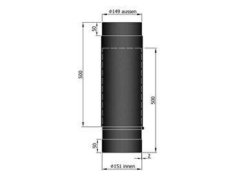 Uitschuifbare Kachelpijp TT 590-910mm Ø 150 mm 2mm staal zwart