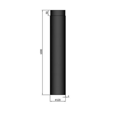 1 Meter Kachelpijp TT Ø 120 mm 2mm staal zwart